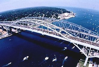 Interstate 94 - I-94's eastern terminus is the Blue Water Bridge at the Canadian border in Port Huron, connecting it to Ontario Highway 402 in Point Edward, Ontario