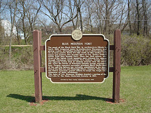 Attacks at Fort Blue Mounds - Marker near the site of Fort Blue Mounds.