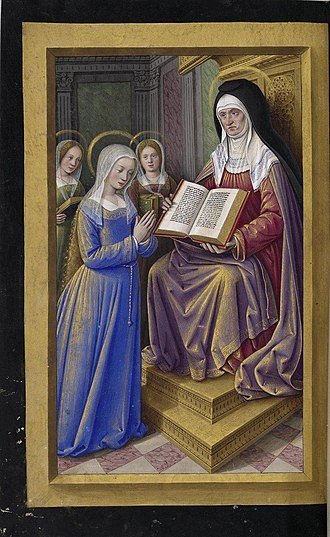 Grandes Heures of Anne of Brittany - St Anne teaching Mary the Scriptures, f. 197v