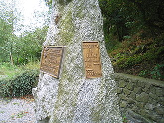 Apennine Mountains - The plaque marking the Bocchetta di Altare