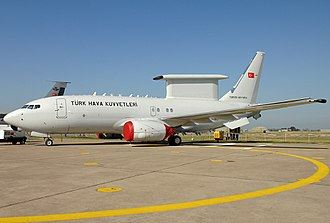 A Boeing 737 AEW&C Peace Eagle (foreground) and the tailfin of a Boeing KC-135R Stratotanker (background) of the Turkish Air Force. Boeing 737-7ES Peace Eagle, Turkey - Air Force JP7135980.jpg