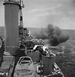 HMS Uganda (66) - Bombardment by HMCS Uganda of Sukuma Airfield on Miyako-jima in May 1945