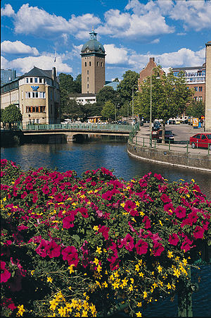 Borås - A view from Krokshall square onto Caroli church with Viskan in front.