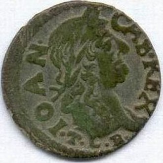 Ujazdów Castle - Obverse of boratynka coin minted at Ujazdów Castle, featuring profile of King John II Casimir.