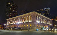Boston Public Library's McKim Building at Night.jpg