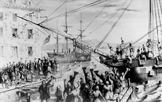 Taxation history of the United States - This 1846 lithograph has become a classic image of the Boston Tea Party.