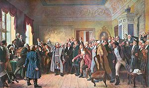 Prussian estates - Yorck addressing the East Prussian Estates on 5 February 1813. History painting of 1888 by Otto Brausewetter.