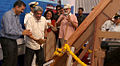 Breaking of the traditional coconut on the sister boat of Indian Navy's Sailing Vessel Mhadei.jpg