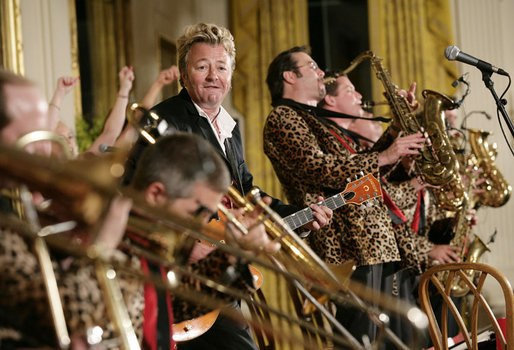 Brian Setzer performs with his orchestra in the East Room of the White House