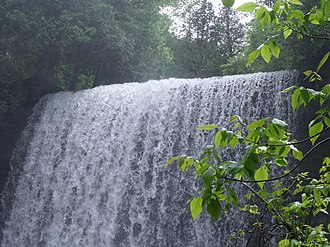 Bridal Veil Falls (Manitoulin Island) - Top of the larger waterfall, viewed from the lookout point at the bottom
