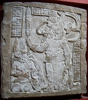 Yaxun B'alam IV - Lintel 16 from Yaxchilan depicts king Yaxun B'alam IV with his slave