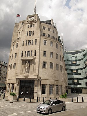 History of broadcasting - The British Broadcasting Corporation's landmark and iconic London headquarters, Broadcasting House, opened in 1932.  At right is the 2005 eastern extension, the John Peel wing.