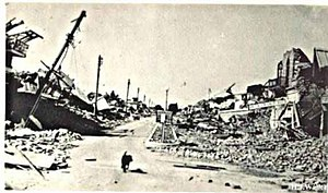 1935 Quetta earthquake - Bruce Street immediately after the earthquake lay desolate in ruin. Commercial businesses came to a halt along with the complete destruction of the Kabari Market and the Fruit Market.