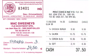Value-added tax - A Belgian VAT receipt