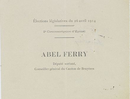 Bulletin de vote de 1914 pour Abel Ferry, archives nationales de France.