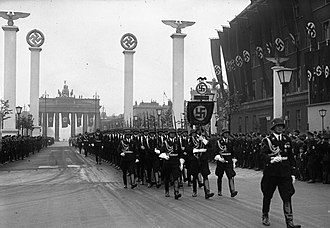 Adolf Hitler's 50th birthday - Soldiers of the Leibstandarte SS Adolf Hitler march through Berlin during the military parade