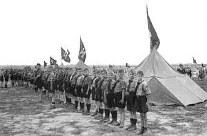 Deutsches Jungvolk - Deutsches Jungvolk recruits line up for roll call at a rally in Berlin, in 1934