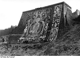 Thangka - Large thangka hung on a special wall at Gyantse in Tibet in 1938