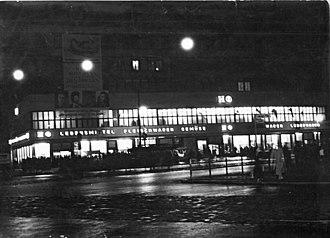 Columbushaus - HO shop in Columbushaus, night view in January 1951