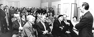 Alexei Pakhomov - Pakhomov (first row, third from left) at an exhibition of his art in Berlin, 1971.