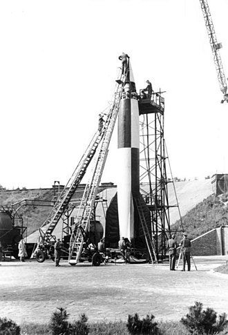 Explorers on the Moon - A German V-2 rocket being tested in 1942. The V-2 would serve as a major inspiration for Hergé in his work on both Destination Moon and Explorers on the Moon.