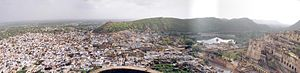 Bundi - Panoramic view of the old town and palace of Bundi.