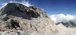 Triglav - Remains of the Triglav Glacier in 2002