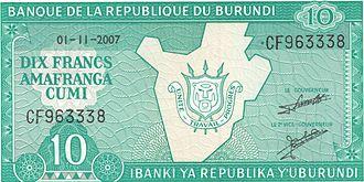 Burundian franc - Image: Burundi 10Franc Front