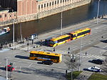 Buses seen from Christiansborg Palace 03.JPG