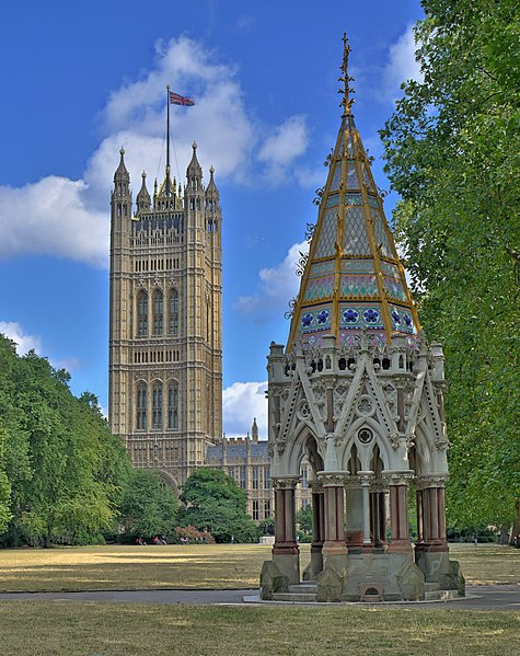 Buxton Memorial (born Buxton Memorial Fountain), London. Established in 1865 in honor of the abolition of slavery in the British Empire.