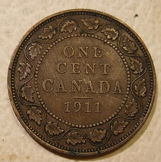 Penny (Canadian coin) - A 1911 penny featuring King George V