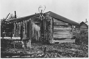 Cabin of Rex Beach, Rampart, Alaska. Same source as photo ^966. - NARA - 297812.jpg