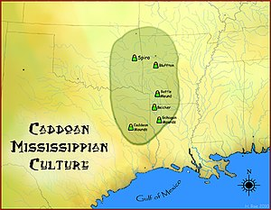 Caddoan Mississippian culture - Map of the Caddoan Mississippian culture and some important sites