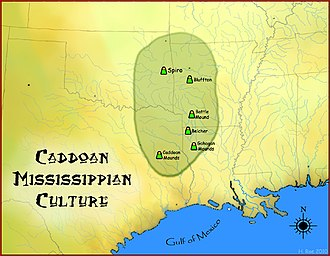 Caddo - Map of the Caddoan Mississippian culture and some important sites