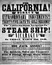 Werbe-Plakat aus dem Jahr 1849 für Schiffspassagen nach Kalifornien zum Goldrausch