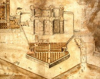 Bastille - The Bastille in 1647, illustrating the bastion, the stone abutment linking to the fortress and the new southern entrance built during the 1550s