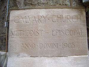 Calvary United Methodist Church (Philadelphia) - Image: Calvary UMC Phila cornerstone