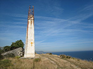 Camino de Santiago (route descriptions) - A route marker on the Cantabrian coast.