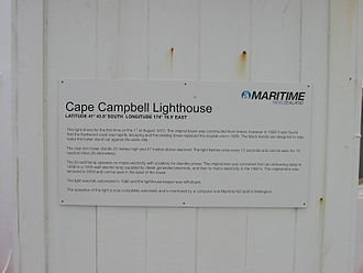 Cape Campbell Lighthouse - Information plaque on the Cape Campbell Lighthouse.