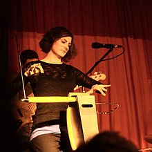 Carolina Eyck playing the theremin.jpg