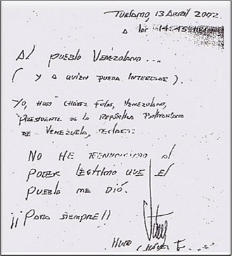 2002 Venezuelan coup d'état attempt - Letter of Chávez disclaiming his resignation.