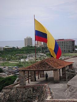 Bandera de Colombia en Cartagena.