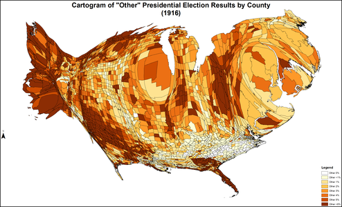 Cartogram shaded according to percentage of the vote for all others