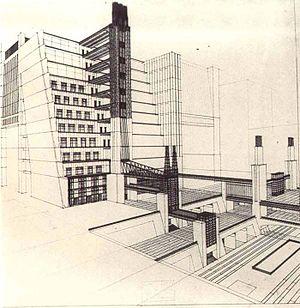 Antonio Sant'Elia - Image: Casa a gradinata con ascensori dai quattro piani stradali 1914 Sant'Elia