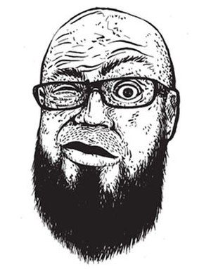 Casey Sorrow - Artist self-portrait, 2011 inked illustration, by Casey Sorrow.