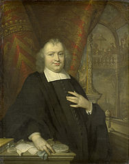 Portrait of Caspar Fagel (1634-88), Grand pensionary of Holland from 1672 on, with the assembly hall of the states of Holland on the Binnenhof, The Hague, in the background