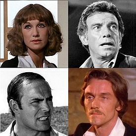 Four head-shots, stills from films. Top left is a woman in her 30s, blonde, shoulder-length wavy hair. Top right is a black-and-white shot of a man in his 50s, bushy hair. Bottom right is a man in his 30s, hair long past his ears, brown and wavy. He has moustache of the same colour. Bottom left is a black-and-white shot of a man in his 40s, dark hair slicked back and to the sides.