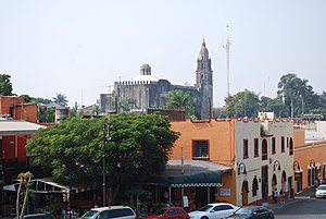 Cuernavaca Cathedral - View of the cathedral from the Palace of Cortes in the center of the city
