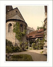 Cathedral churchyard and 1000 year old rose tree Hildesheim Hanover Germany.jpg