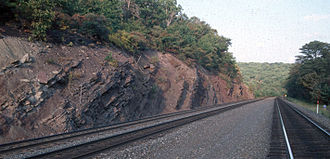 Catskill Formation - Outcrop of the Irish Valley Member of the Catskill Formation along the Horseshoe Curve, Blair County, Pennsylvania